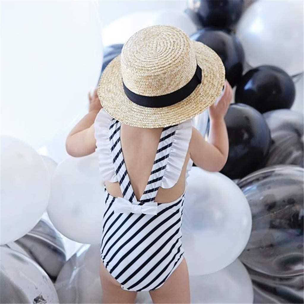 ❤️ Mealeaf ❤️ Kids Baby Girls Stripe Vest Summer Swimwear Swimsuit Romper Jumpsuits(Black,90)
