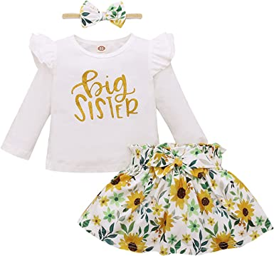 Shiningbaby Little Sister Big Sister Outfits Matching Clothes Long Sleeve Romper T Shirt Top Floral Printed Pants Skirts with Headbands Sets