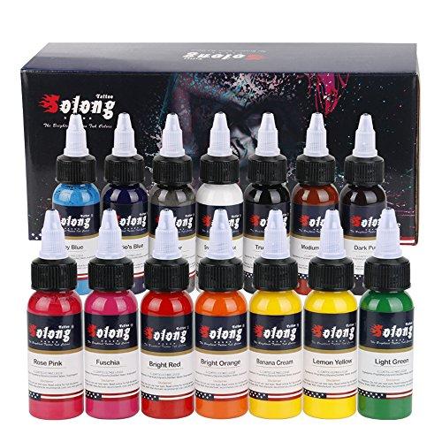 Solong Tattoo Professional 1 oz 14 Basic Colors Tattoo Ink Set Pigment Kit TI302-30-14X