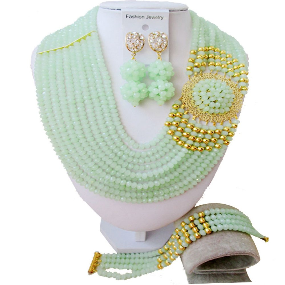 Nigerian Wedding African Beads Mint Green And gold Bridal Jewelry Sets