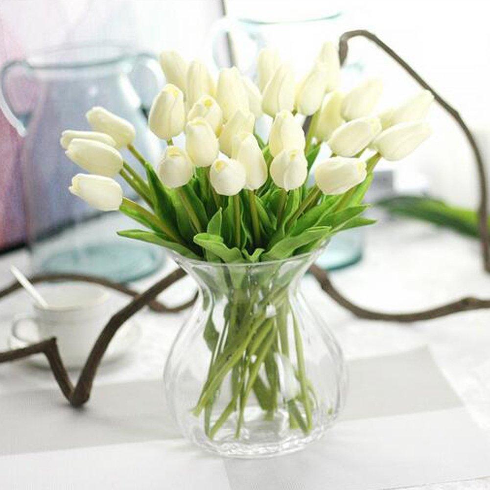 Sweetdecor 30 Stück Tulpen Künstliche Blumen Mit Blätter Dekoriere