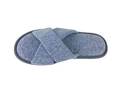 Homywolf Mens Slippers Knitted Cotton Bedroom Slipper Home House Slipper Open Toe Soft Breathable