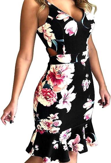 TOPUNDER Vintage Boho Women Summer Sleeveless Dress Beach Printed Short Mini Dresses