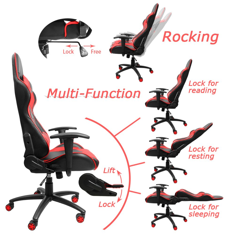 Homall Gaming Chair Office Chair High Back Computer Chair PU Leather Desk  Chair PC Racing Executive Ergonomic Adjustable Swivel Task Chair with