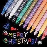 #8: Acrylic Paint Pen for Ceramic Painting, Medium Point Tip Art Permanent Paints Pens For Rock, Glass, Canvas, Photo Album, Fabric, Metal, Porcelain, Wood, Leaf, Christmas Gift DIY Craft Kids,12/Pack