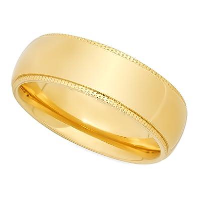 Gold Plated Titanium 8mm Comfort Fit Wedding Ring W Milgrain Edges