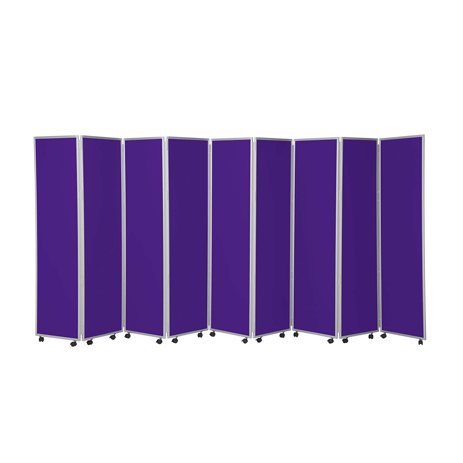 Purple 9 Panel 7 Panel Mobile Concertina Folding Office Display Screens 1800mm high Woolmix Fabric - Ivy