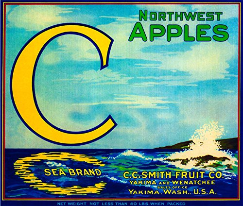 Yakima Washington C Sea Brand Apples Apple Vintage Fruit Crate Box Label Art Print