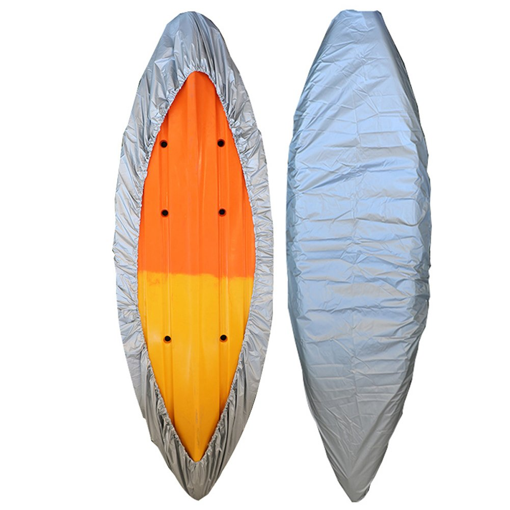 GYMTOP 7.8-18ft Waterproof Kayak Canoe Cover- Outdoor Storage Dust Cover UV Protection Sunblock Shield for Fishing Boat/Kayak/Canoe 7 Sizes [Choose Color] (Silver, Suitable for 16.8-18ft Kayak) by GYMTOP