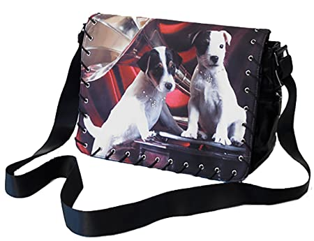 Sac Deco Animaux Messenger Bag   Jack Russell Red Background