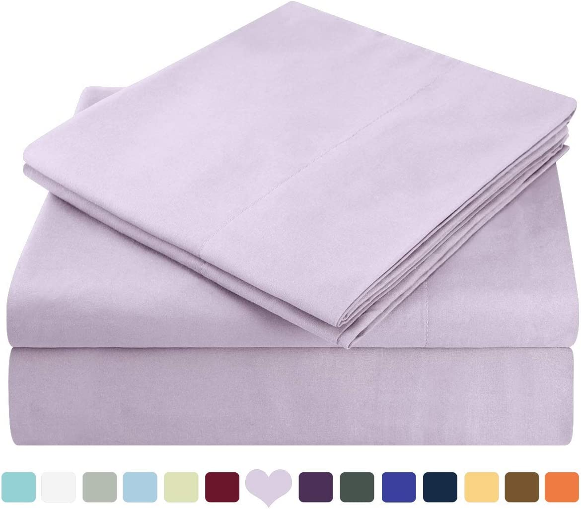 HOMEIDEAS Bed Sheets Set Extra Soft Brushed Microfiber 1800 Bedding Sheets - Deep Pocket, Wrinkle & Fade Free - 4 Piece(Queen,Lavender)