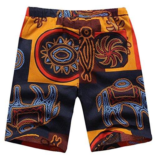 Hombres Sueltas Impreso Casual o Ropa Deporte Adeshop 5 cortos grande Tipo playa Tama Nueva Trabajo Pantalones recta de Elasticidad deportiva Pantalones Verano Multicolor P5x4qwF
