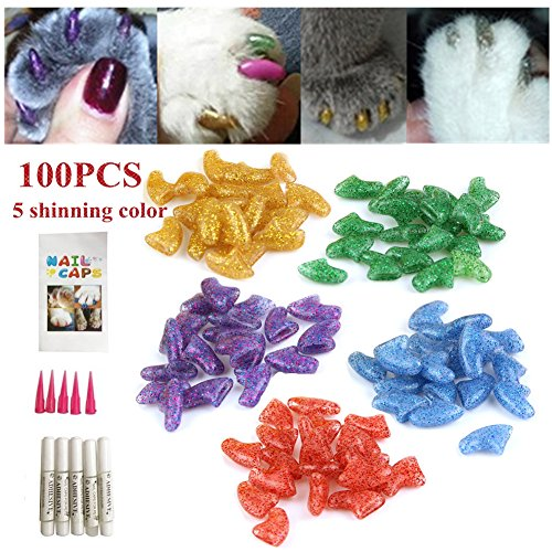 - Ninery Ave 100Pcs Cat Nail Caps Pet Soft Claws Control Paws of 5 Different Shinning Crystal Colors and 5Pcs Adhesive Glue 5pcs Applicator with Instructions Support (S)