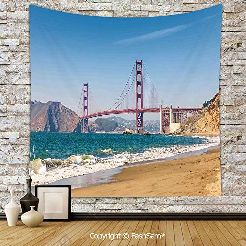 (FashSam Tapestry Wall Hanging Panoramic View of Golden Gate Bridge San Francisco Coastline Nature Seascape Tapestries Dorm Living Room Bedroom(W59xL78))