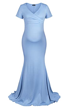 3d0b295b03a96 Molliya Maternity Long Dress Short Sleeve V Neck Fitted Maternity Gown Maxi  Photography Dress