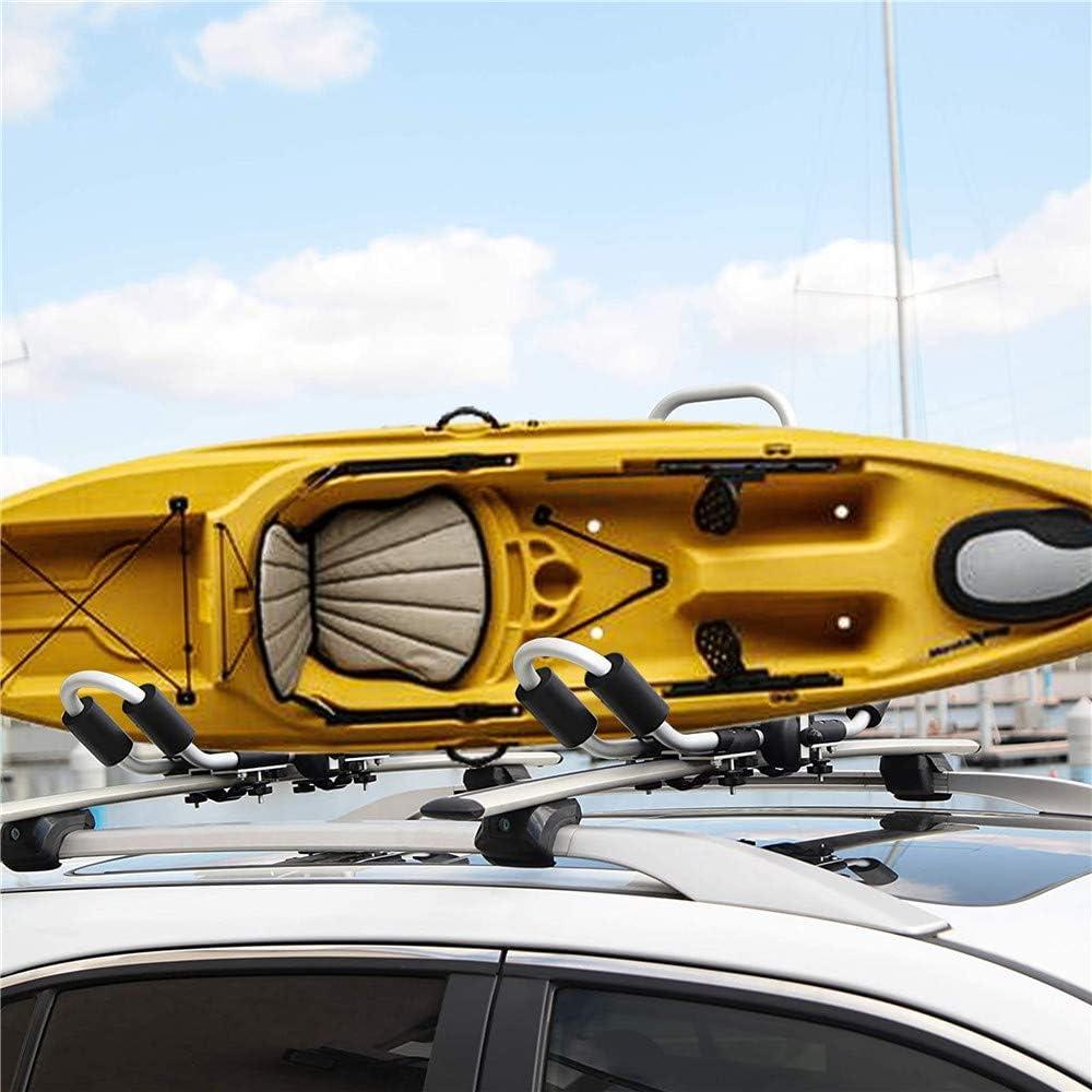 25mm2.0mm Aviation Aluminum SEAAN Kayak Roof Carrier Rack 2 Pack Folding J-Bar Racks for Canoe Surf Ski Board SUP Car Rooftop Rack Holder with 4pcs Straps