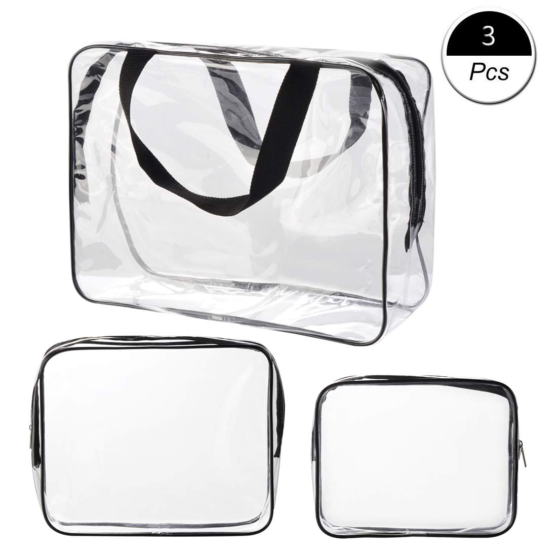 Waterproof Makeup Bag Clear Travel Toiletry Bags PVC Organizer Case for Men & Women 3 Pack