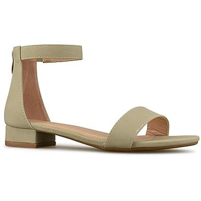 3fa1e5df91dd Premier Standard - Women s Strappy Ankle Kitten Heel - Adorable Low Block Open  Toe Heel
