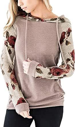 ABRAVO Mujer Sudadera con Capucha Manga Larga Jerséis Sueltos Sudadera con Estampado la Camiseta Otoño Invierno Mujer Chándal