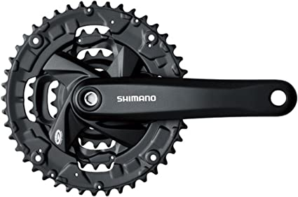 Black Shimano FC-M371 9-Speed 170MM 26X36X48t Square Crankset with Chain Guard