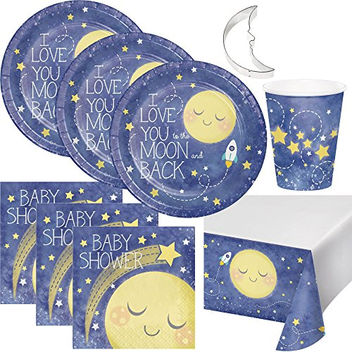 LLILYKAI VALUE BUNDLES -to The Moon and Back Theme Baby Shower Party Supplies Pack Serves 16 Plates Napkins Cups Table Cover with Cookie Cutter (Bundle for 16) (Moon And Star Baby Shower Theme Ideas)