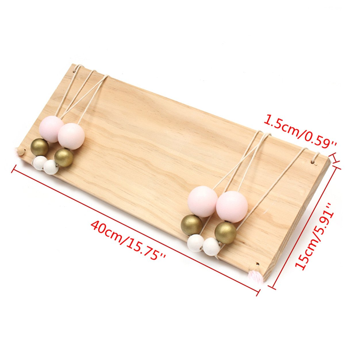 fdc2663d2 Jeteven Wood Wall Hanging Shelf Swing Shelves Wooden Board Shelf with Rope  for Room Wall Decor Gold Pink 40x15x1.5cm  Amazon.co.uk  Kitchen   Home