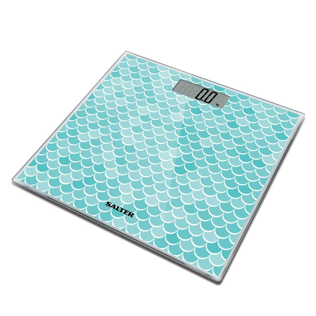 Salter Mermaid Digital Bathroom Scales - Electronic Scale for Body Weighing, Toughened Glass Platform, Step-On for Instant Reading, Metric + Imperial, Easy to Read Display - 15 Year Guarantee FKA Brands Ltd 9212 MR3R