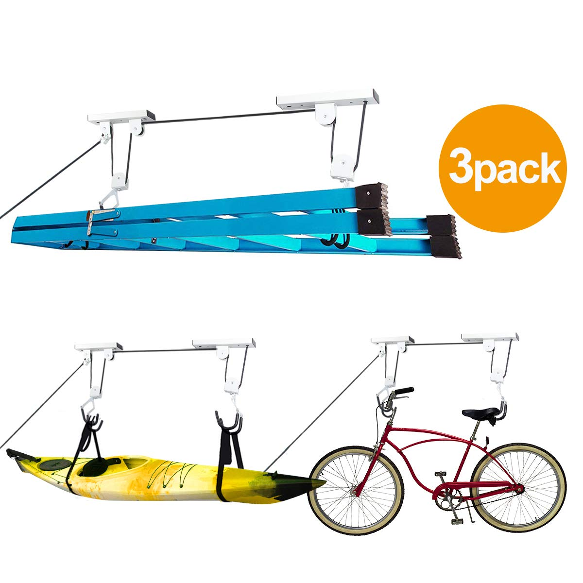 Oeyal Bike Lift Hoist for Garage Storage, Heavy Duty Kayak Canoe Ceiling Mount Hoists Pulley System 110lbs Capacity Pack of 3 (3 Pack Pro) by Oeyal