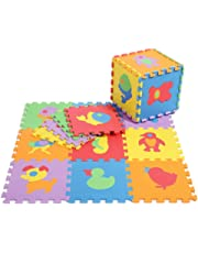 Baby Crawling Mat, Puzzle Play Mat with Animals Patterns Interlocking Floor Tiles Non-Toxic EVA Foam Mat for Nursery/Playroom Tummy Time, Kids, Toddlers/Infants-10 Tiles