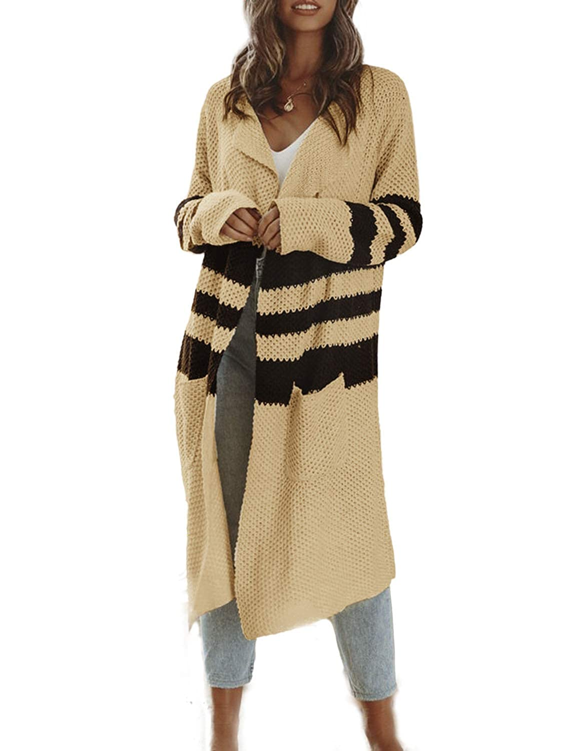 Simplee Womens Casual Open Front Long Sleeve Knit Cardigan Sweater Coat with Pockets