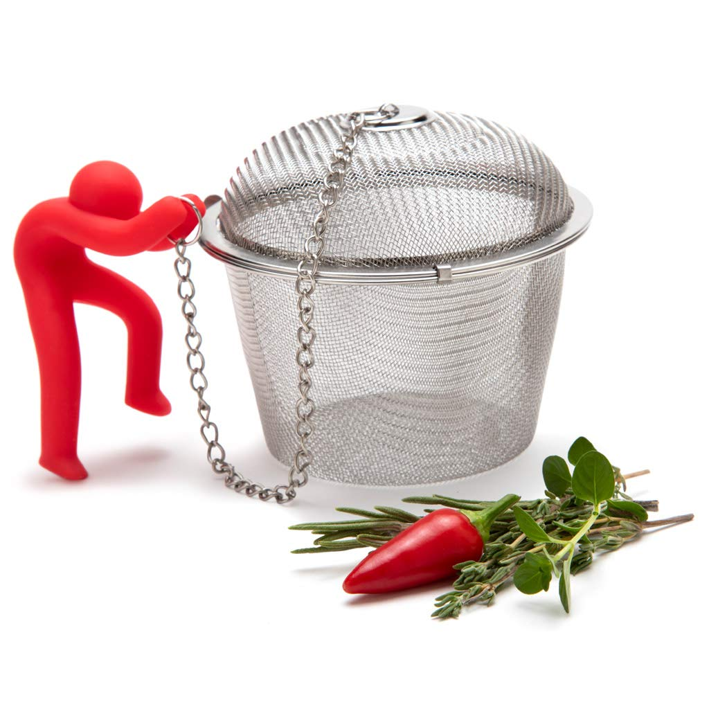 Hike Mike Stainless Steel Mesh Ball Infuser For Herbs And Spices, Tea Strainer, Spice Ball With Silicone Anchor by Monkey Business (Image #1)