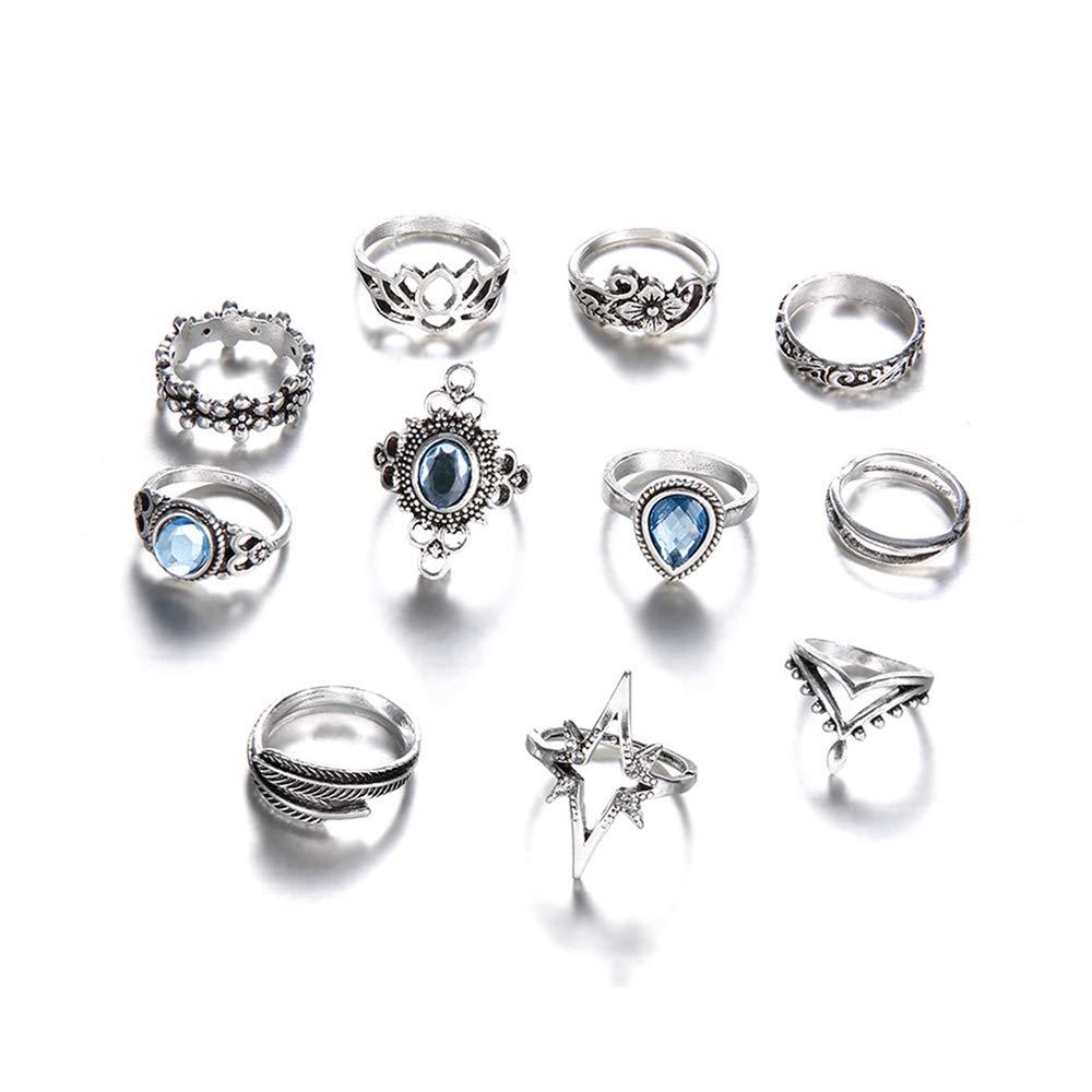 LEACK Vintage assortiti 11 set anelli antichi argento giunto sopra Knuckle dichiarazione impilabile polsino punta dito anello di impilamento