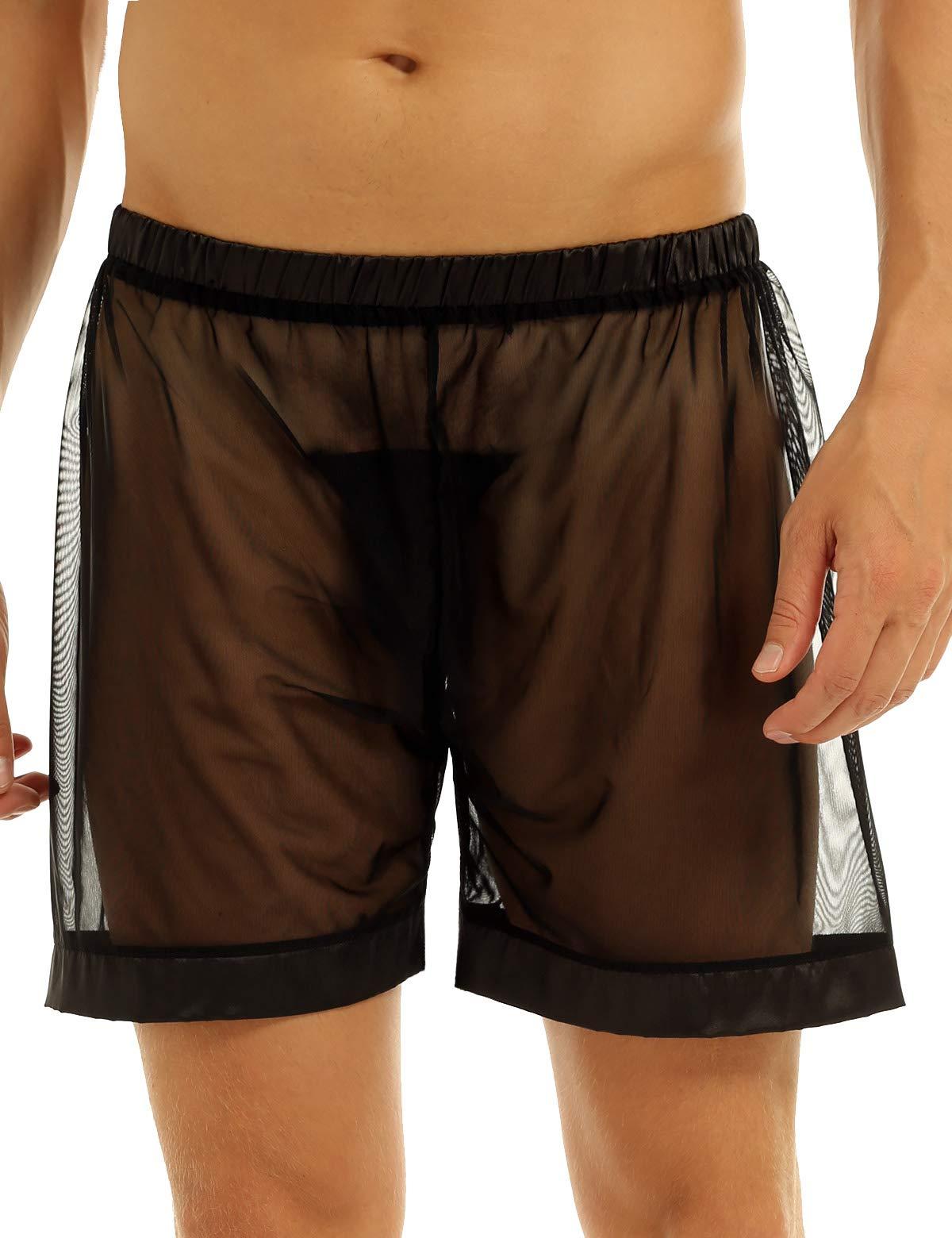 FEESHOW Men's See-Through Mesh Loose Shorts