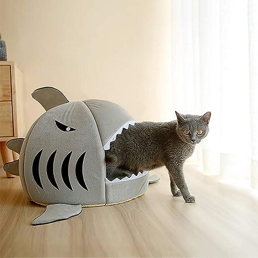 Lilalit kuschelige Cama Forma de Tiburón, Gato Cesta de Gatos de Cama edredón de Cueva de Cálido Invierno para Gato y Perro, entfernbares Cojín: Amazon.es: Productos para mascotas