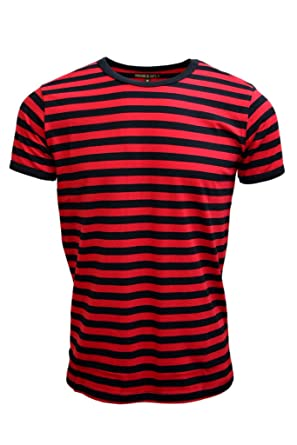 Mens 60's Retro Black & Red Striped Short Sleeve T Shirt | Amazon.com