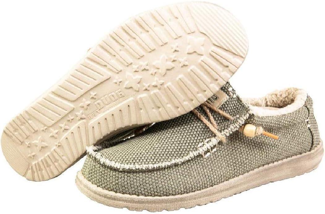 Dude Shoes Bord/ée De Fourrure Masculine Kaki Naturel Chalet Wally