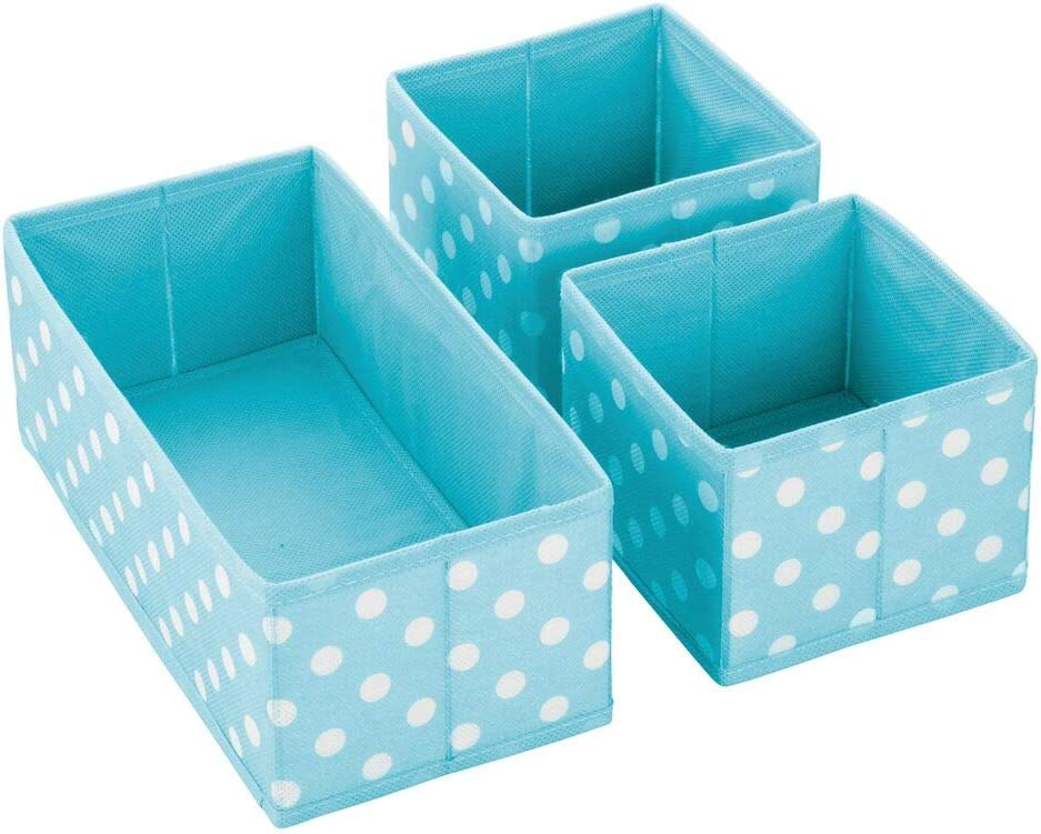 Herringbone Print Blue Playroom Organizing Bins in 2 Sizes Nursery mDesign Soft Fabric Dresser Drawer and Closet Storage Organizer for Kids//Toddler Room Bedroom Set of 12