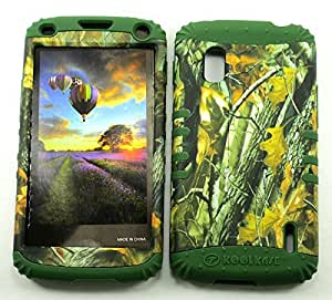 Cell-Attire Shockproof Hybrid Case For LG Nexus 4, E960 and Stylus Pen, Dark Green Soft Rubber Skin with Hard Cover (Camouflage, Camo, Forest, Tree, Branch) T-Mobile by Maris's Diary