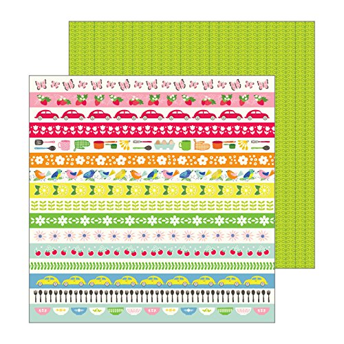 Retro Art Scrapbooking Paper - Jen Hadfield 733865 Retro Stripes Paper, Multicolor