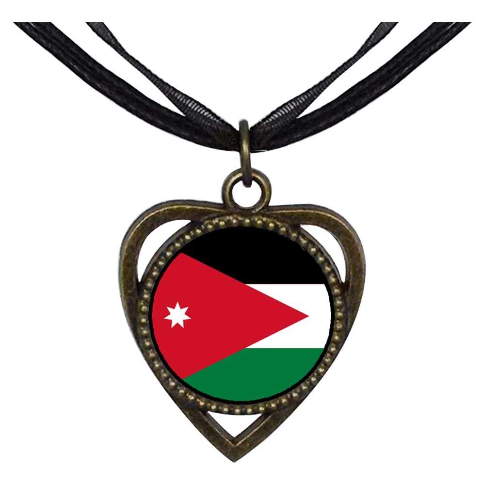 GiftJewelryShop Bronze Retro Style Jordan flag Heart Shaped Pendant Charm Necklaces