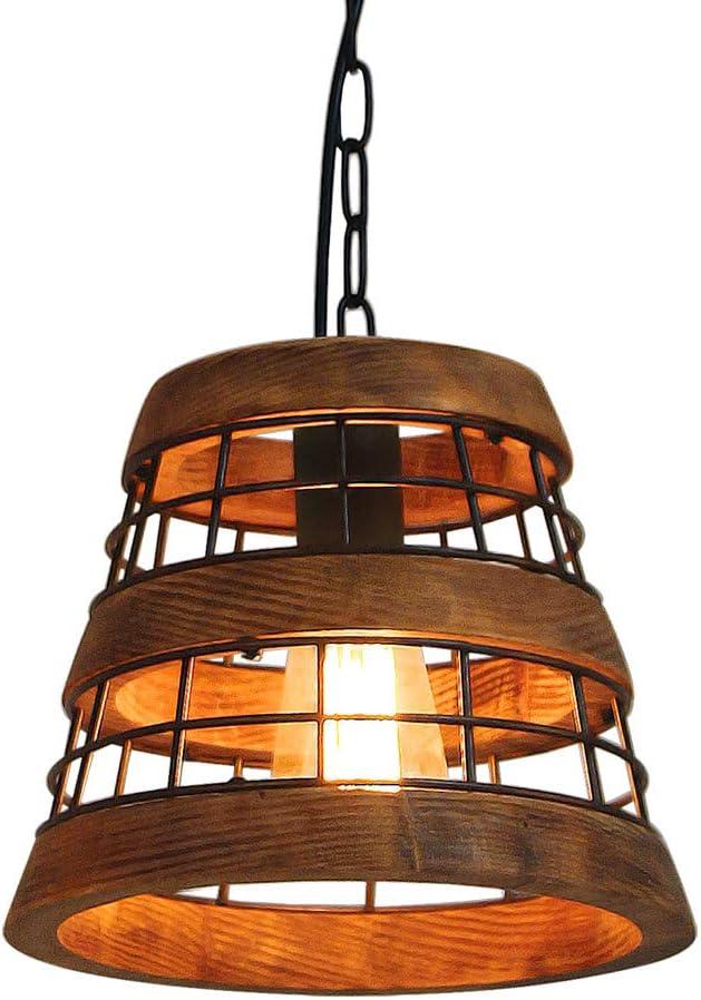 Anmytek Wood and Metal Chandelier Iron Net Frame Rustic Chandelier Lighting Metal Pendant Light Retro Ceiling Light or Edison Vintage Hanging Light Fixture 1-Light P0021