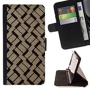 For Samsung Galaxy S6 Case , Patrón Marrón Negro Basketweave- la tarjeta de Crédito Slots PU Funda de cuero Monedero caso cubierta de piel