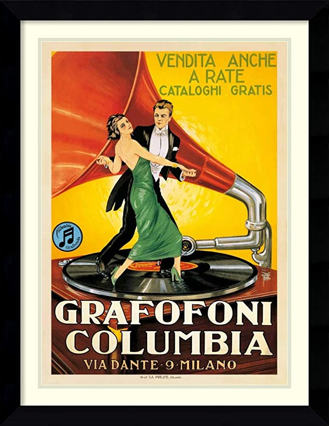 Vintage Advertising Poster COLUMBIA GRAFOFONI Custom Framed /& Matted  A+Quality