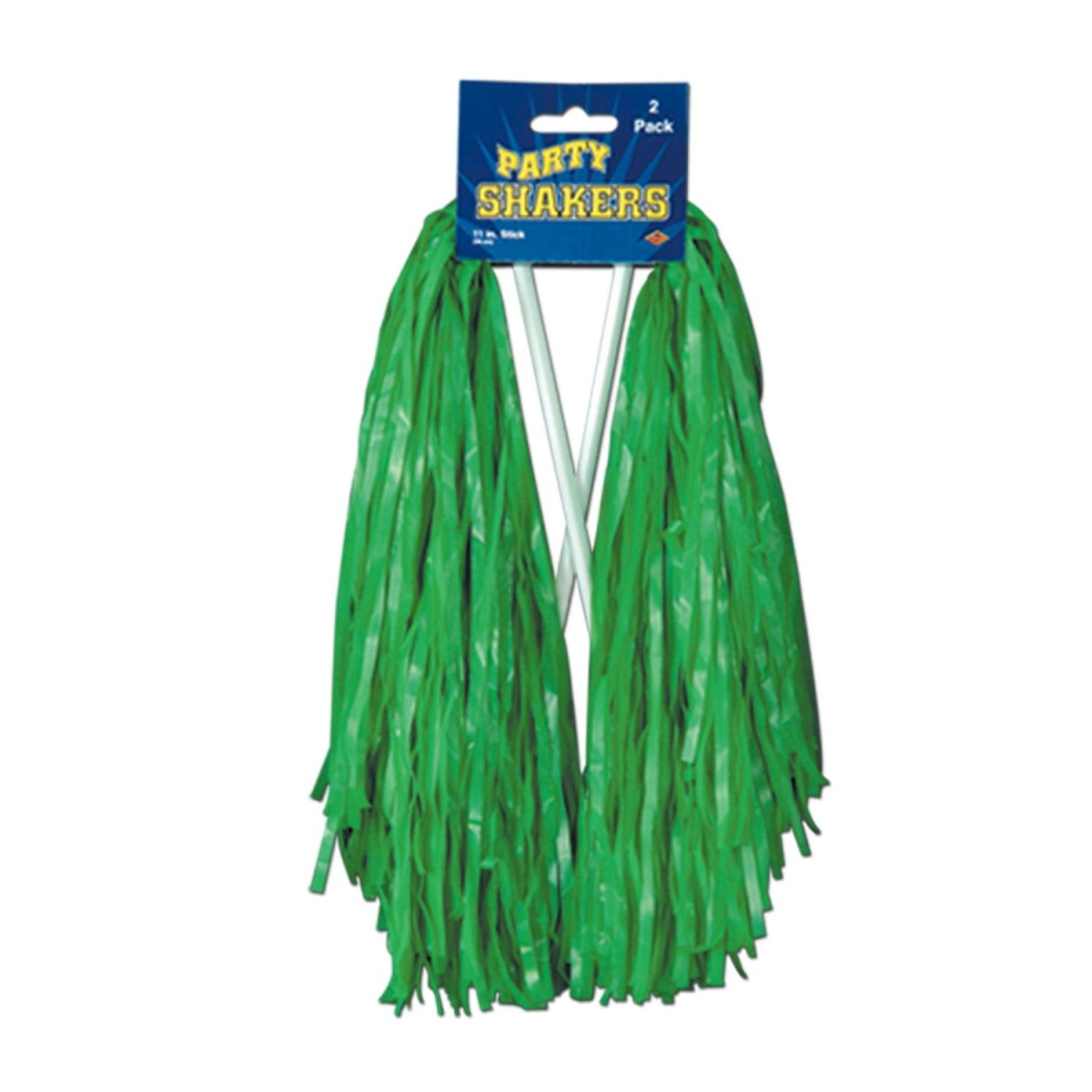 Club Pack of 48 Pre-Packaged Green Football Themed School Spirt Poly Shakers 12''