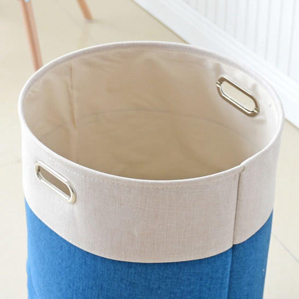 #1 Blu, 38 * 50cm JEELINBORE Pieghevole Ceste per la Biancheria in Tessuto di Cotone ramia Rettangolare Tondo Portabiancheria Rivestimento Impermeabile Secchio di Tela