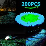 Glow in the Dark Pebbles, 200PCS Glow Stones Rocks for Outdoor Fairy Garden, Yard, Landscape, Walkways, Driveway, Potted Plant, Flower Bed, Fish Tank Aquarium Gravel DIY Decorations(Blue& Green)