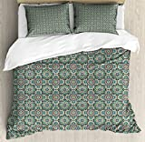Arabian King Size Duvet Cover Set by Lunarable, Old Design Traditions with Geometric Details Traditional Star Ceramic Art Mosaic, Decorative 3 Piece Bedding Set with 2 Pillow Shams, Multicolor