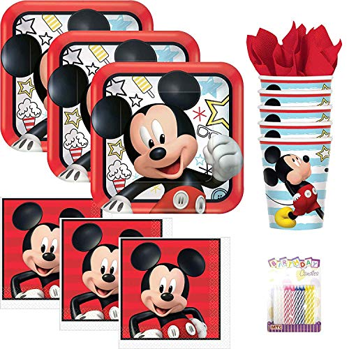Lobyn Value Packs Disney Mickey Mouse On The Go Party Supplies Pack Serves 16: Dinner Plates, Luncheon Napkins, Cups, and Birthday Candles ()