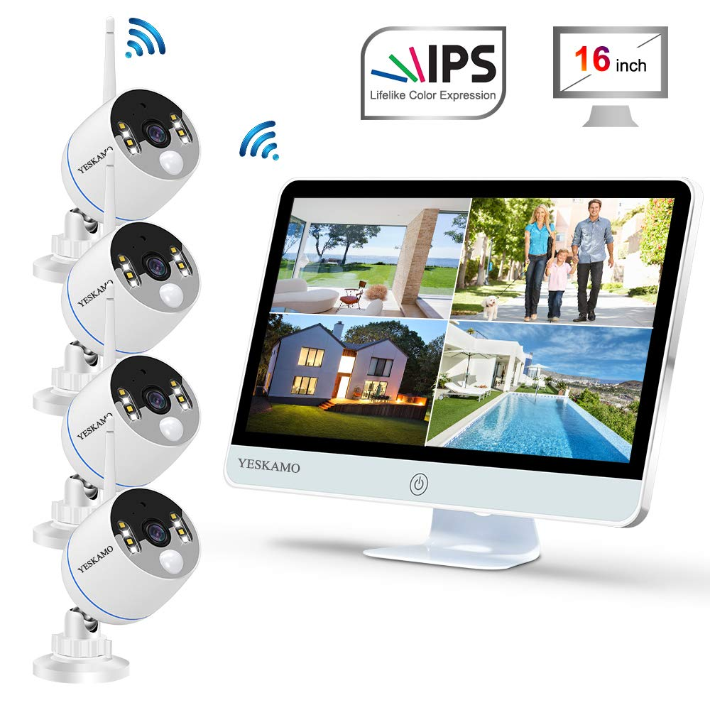 """YESKAMO Wireless Security Camera System Outdoor [ Floodlight & 16"""" Monitor] 1080p Spotlight WiFi IP Cameras with 16"""" Full HD IPS Monitor for Home Surveillance Kit Support 2 Way Audio"""