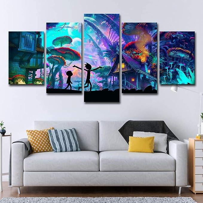 Toile Tableau DArt Mural 5 Pi/èces Rick Et Morty Dessin Anim/é Ciel /Étoil/é Paysage Peinture D/écoration De La Maison Chambre DEnfant Affiche-12X16//24//32Inch,Without Frame Fbhfbh Peinture Sur Toile 3D